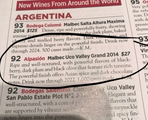 Winespectactor results Grand Malbec 92pts